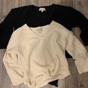Madewell Front Tie Long Sleeve Tops